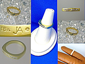 John Atencio Diamond 18k Bezel Set Gold Ring