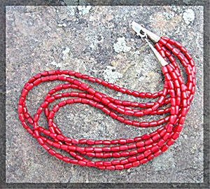 Navajo Coral 5 Strand Sterling Silver Necklace