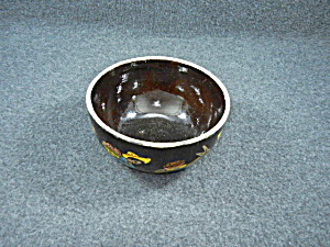 Pottery Mexican Tlaquepaque Hand Decorated Black Bowl  (Image1)