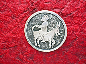 Sterling Silver Man On Donkey Brooch Pin GINA Turkey (Image1)