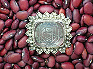 Sterling Silver Etched Crystal Brooch Pin Marked 925 (Image1)