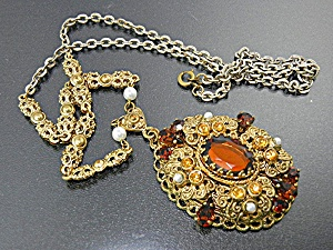 Gold Filigree Crystals & Pearls West German Necklace