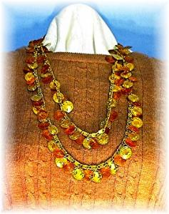 Hobe Amber Lucite Gold Egypt Coin 51 Inch Necklace