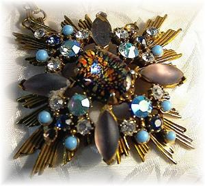 Necklace Florenza Starburst Turquoise Pearl Gold