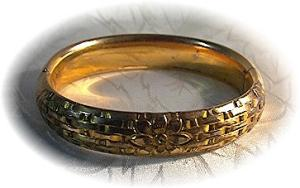 Gold Fill Antique  Flower Weave Bangle Bracelet (Image1)