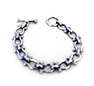 Sterling Silver Horse Shoe Toggle Clasp Bracelet