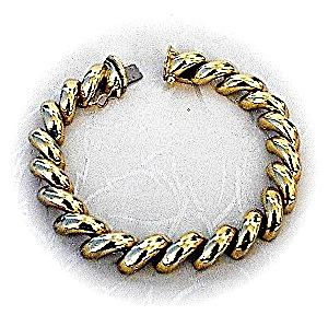 Bracelet 14K Yellow Gold Italian San Marco 8 Inch  24 g (Image1)