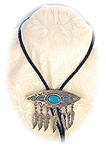 Bolo Tie Leather & Pewter & Faux Turquoise