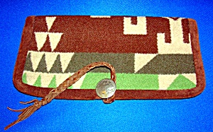 Wallet  Soft Wool Fold Over Leather Tie Buffalo Coin (Image1)