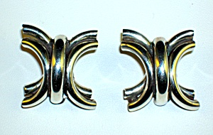 Large Sterling Silver Clip Earrings Tasco Mexico (Image1)