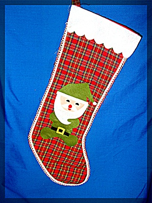 Christmas Stocking plaid with Santa................... (Image1)