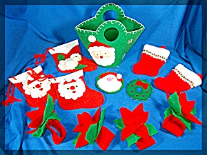 Lot of  12 handmade felt Christmas ornaments ..... (Image1)