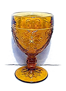 Amber Glass 9 Wine Goblets Usa