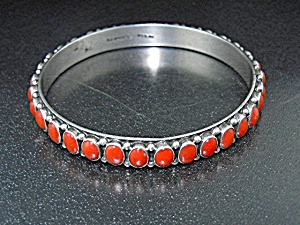 Navajo Coral Sterling Silver Bangle R.j. Apachito