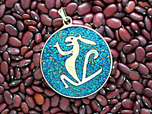 Mexican Silver Turquoise Coral Animal Pendant (Image1)