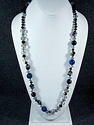 Necklace, Crystal Blue And Black Lobster Clasp