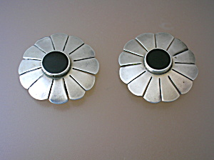 Taxco Mexico Sterling Silver Signed Onyx Clip Earrings