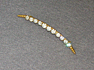 Gold Wash Claw Set  Paste Art Noveau Half Moon Brooch (Image1)