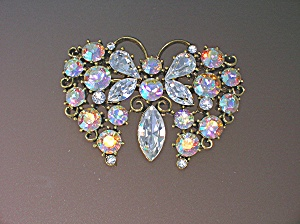 Pink Blue Crystal Goldtone Butterfly Brooch (Image1)