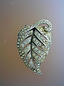 Dress Clip Rhinestone Leaf 50s Silvertone