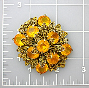 Fur or Dress Clip Golden Amber Glass Filigree 50s (Image1)