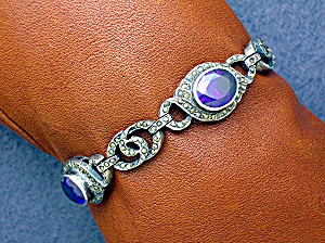 Amethyst Marquisite Sterling Silver Bracelet Signed Nd