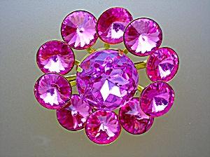 Crystal Hot Pink Rivoli Stones Brooch (Image1)