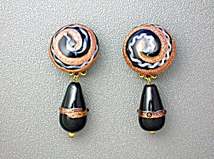 Venetian Glass Goldstone Black Clip Teardrop Earrings