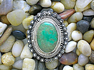 Mexican Sterling Silver Eagle,  2  Green Stone Brooch . (Image1)