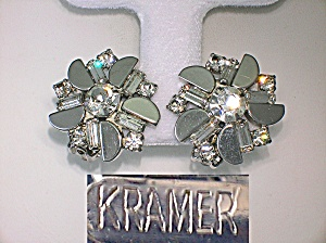 Earrings KRAMER Round Crystal and  Bagette  Silver Clip (Image1)