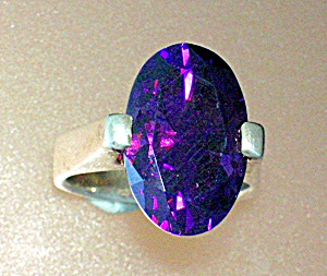 Sterling Silver Amethyst Oval 5ct Ring