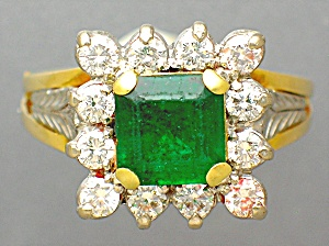 Ring Diamond  Emerald 18K Gold  (Image1)