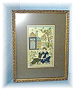 Framed Oriental Man & Lady In Garden