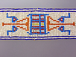 Americn Indian Hand Beaded Hat Band Unfinished.