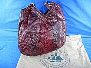 Brahmin Red Russet Trina Leather Handbag