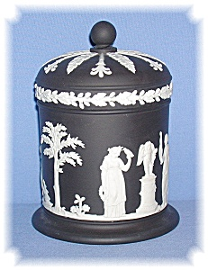Discontinued Black Wedgewood Tall Lidded Jar (Image1)