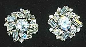 WEISS Round Crystal Marquise Emerald Cut Clip Earrings (Image1)