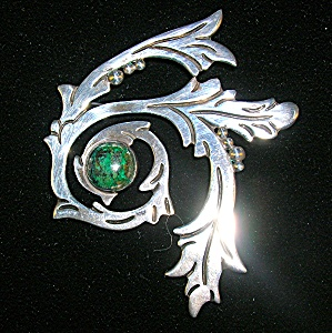 Vintage Sterling Silver 980 TAXCO Malachite Brooch (Image1)