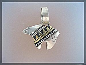 Tommy Singer Bear Sterling Silver Gold Pendant  (Image1)