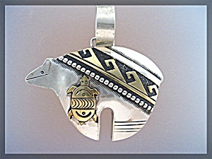 Tommy Singer Bear Sterling Silver and Gold Pendant  (Image1)