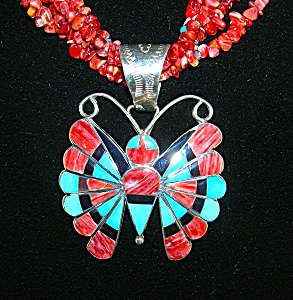 Zuni Sterling Silver Turquoise Spiny Oyster Pendant (Image1)