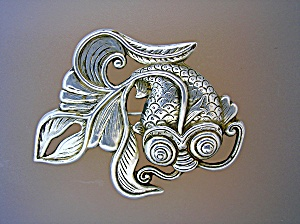 Sterling Silver Swirling Fish Brooch Marked HK FD (Image1)