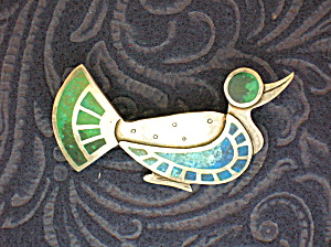 Sterling Silver Turquoise Antique Duck Brooch Pin (Image1)