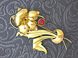 Sterling Silver 1/20 Gold Vermeil Flower brooch Pin (Image1)