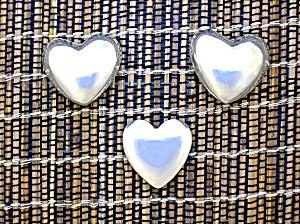 Taxco Mexico Sterling Silver Heart Clip Earrings Button (Image1)