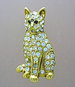 Cat Pin Goldtone with Crystals Signed SFJ (Image1)