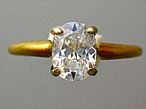 Ring Diamond  1 ct Oval Moissanite14K Yellow Gold  (Image1)