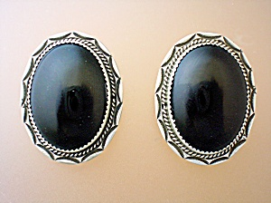 Native American Sterling Silver Onyx Clip Earrings