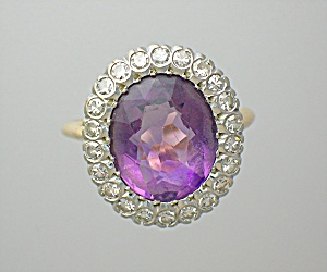 Ring Amethyst 14K Gold and Diamond  (Image1)