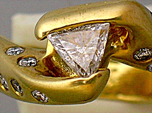 Ring Wedding14K  Gold Trillion Round Diamond Wedding  (Image1)